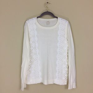 J. Crew Ivory Lace Panel Teddie Sweater Pullover
